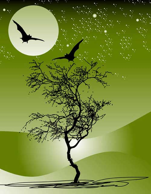 Nature Night Scene Halloween Vector