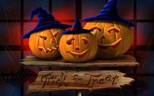 3 Pumpkins Trick or Treat Halloween Wallpaper