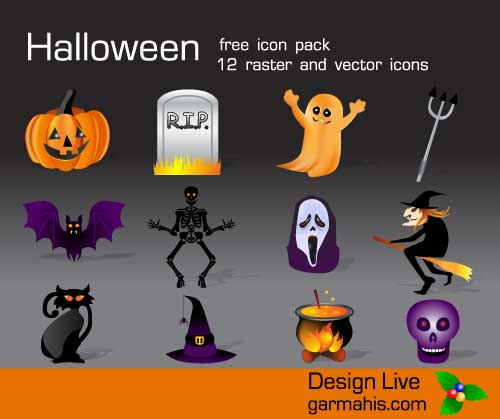 Great Halloween Icons - Halloween free vector Halloween Icons set