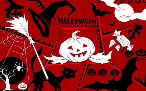 Cats, Bats & Pumpkin Halloween Wallpaper