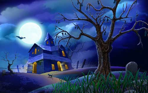 Blue Spooky Mansion Halloween Wallpaper
