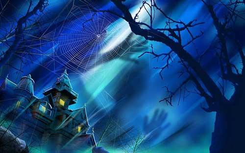 Blue Spiders Web Halloween Wallpaper