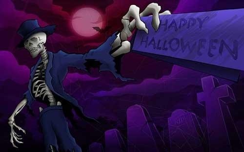Skeleton Happy Halloween Wallpaper