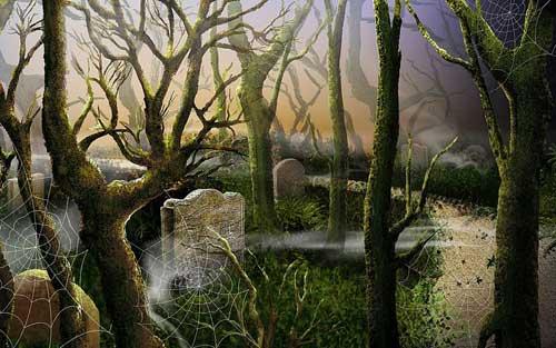 Swampy Gravestones Halloween Wallpaper