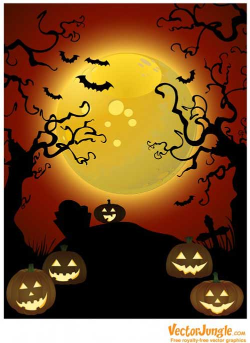 Creepy Trees Halloween Vector