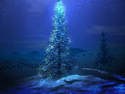 Best Christmas Images, Icons & Wallpapers - Blue Christmas Tree Wallpaper