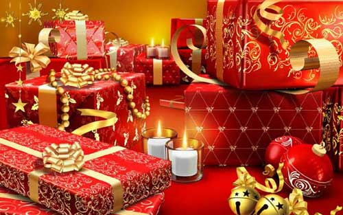 Best Christmas Images, Icons & Wallpapers - Red Fancy Presents Wallpaper